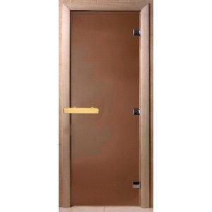 Дверь стеклянная для бани DW (2000х800 кор), Ольха-Липа, Кедр, БРОНЗА МАТОВОЕ, (00022)
