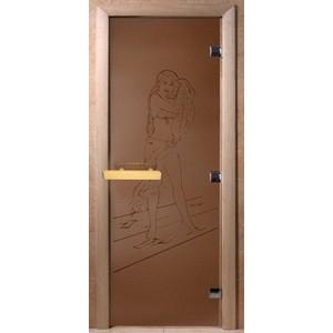 Дверь стеклянная для бани DW (2000х800 кор), Ольха-Липа, БРОНЗА МАТОВОЕ Дженнифер, (00090)