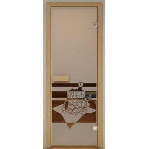 Дверь стеклянная для бани DW (2000х800 кор), Ольха-Липа, БРОНЗА МАТОВОЕ с рис. Банный вечер