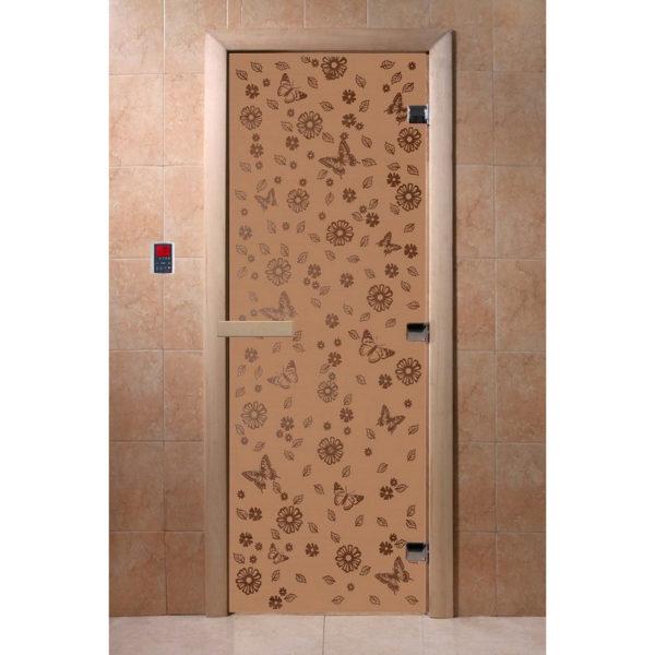 Дверь стеклянная для бани DW (2000х800 кор), Ольха-Липа, БРОНЗА МАТОВОЕ с рис. Весна цветы, (00074)