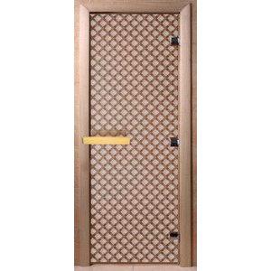 Дверь стеклянная для бани DW (2000х800 кор.) 3 петли, Ольха-Липа, БРОНЗА МАТОВОЕ с рис. Мираж, (00106)
