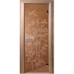 Дверь стеклянная для бани DW (2000х800 кор.) 3 петли, Ольха-Липа, БРОНЗА с рис. Бамбук