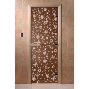 Дверь стеклянная для бани DW (2000х800 кор.) 3 петли, Ольха-Липа, БРОНЗА с рис. Весна цветы, (00072)