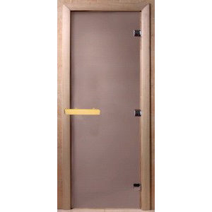 Дверь стеклянная для бани DW (1900х600 кор). Ольха-Липа, САТИН (00025)