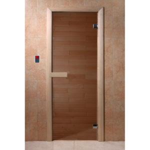 Дверь стеклянная для бани DW (1900*700 кор.) 2 петли, Хвоя, Бронза (01217), 6мм