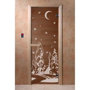 Дверь стеклянная для бани DW (1900*700 кор.) 2 петли, Хвоя, БРОНЗА с рис. Зима (01220), 6мм