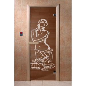 Дверь стеклянная для бани DW (1900*700 кор.) 2 петли, Хвоя, БРОНЗА с рис. Искушение (01221), 6мм