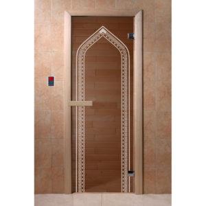 Дверь стеклянная для бани DW (1900*700 кор.) 2 петли, Хвоя, БРОНЗА с рис. Арка (01215), 6мм