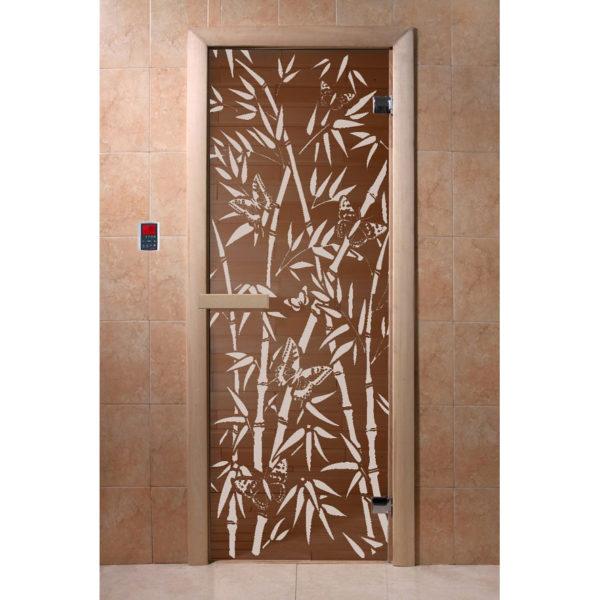 Дверь стеклянная для бани DW (1900*700 кор.) 2 петли, Хвоя, БРОНЗА с рис. Бамбук и бабочки (01216), 6мм