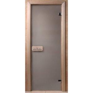 Дверь стеклянная для бани DW (1900*700 кор.) 2 петли, Хвоя, Сатин (01223), 6мм