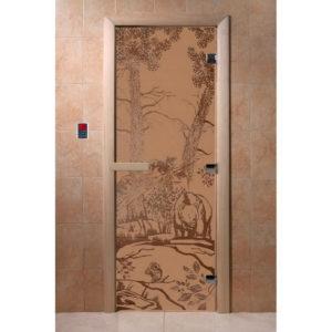 Дверь стеклянная для бани DW (2000х800 кор.) Ольха-Липа, БРОНЗА МАТОВОЕ с рис. Мишки, (00939)
