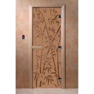 Дверь стеклянная для бани DW (2000х800 кор.) Ольха-Липа, БРОНЗА МАТОВОЕ с рис. Бамбук и бабочки, левая (00058)